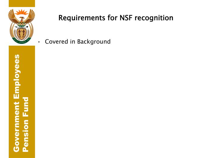 Requirements for NSF recognition