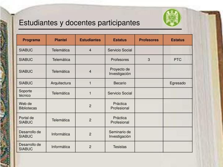 Estudiantes y docentes participantes