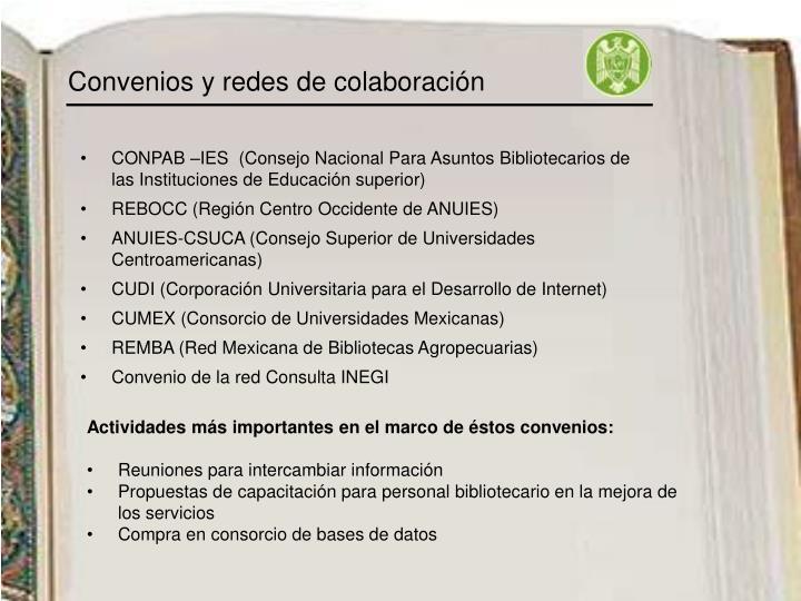 Convenios y redes de colaboración