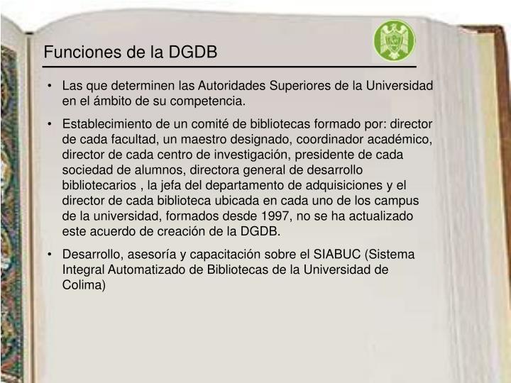 Funciones de la DGDB