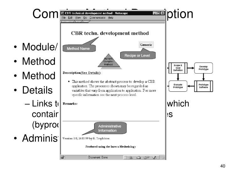 Complex Method Description Sheets