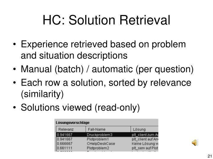 HC: Solution Retrieval