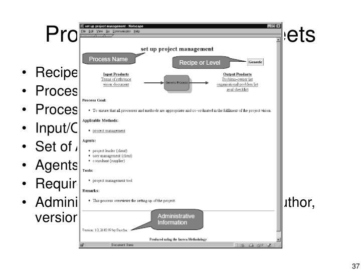 Process Description Sheets