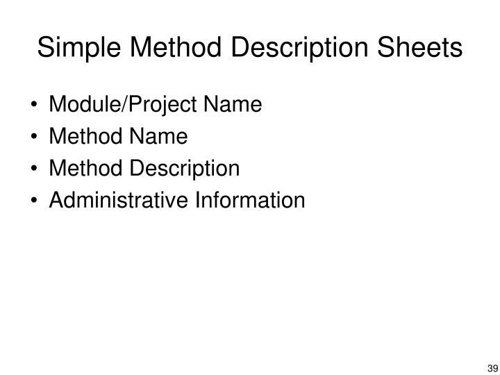 Simple Method Description Sheets