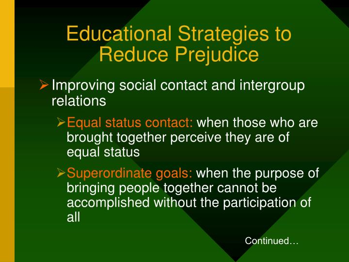 Educational Strategies to Reduce Prejudice