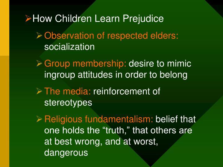 How Children Learn Prejudice