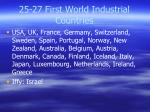 25 27 first world industrial countries