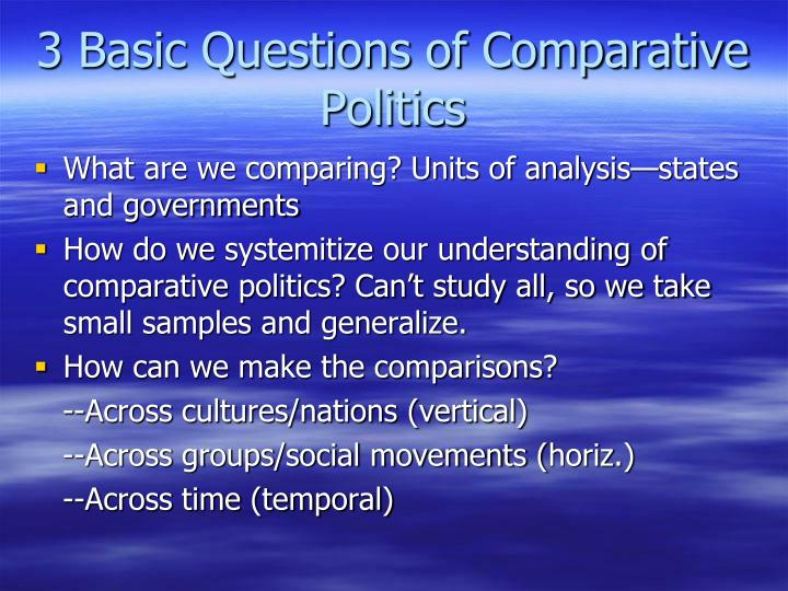 3 basic questions of comparative politics