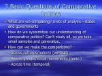 3 basic questions of comparative politics