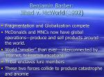 benjamin barber jihad v mcworld 1992