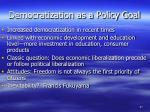 democratization as a policy goal