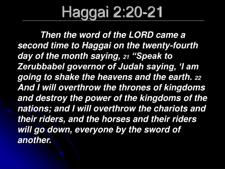 Haggai 2:20-21