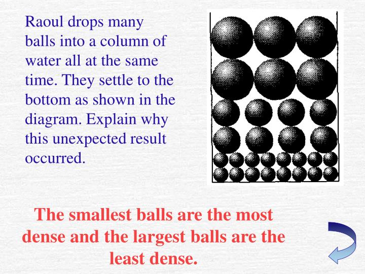 Raoul drops many balls into a column of water all at the same time. They settle to the bottom as shown in the diagram. Explain why this unexpected result occurred.