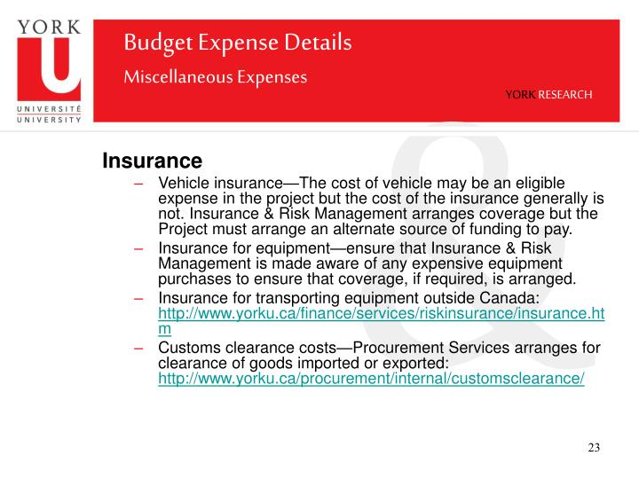 Budget Expense Details