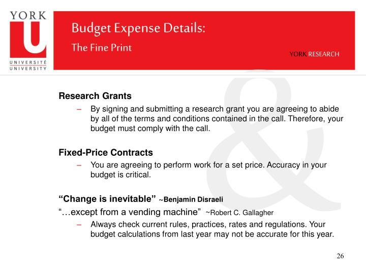 Budget Expense Details: