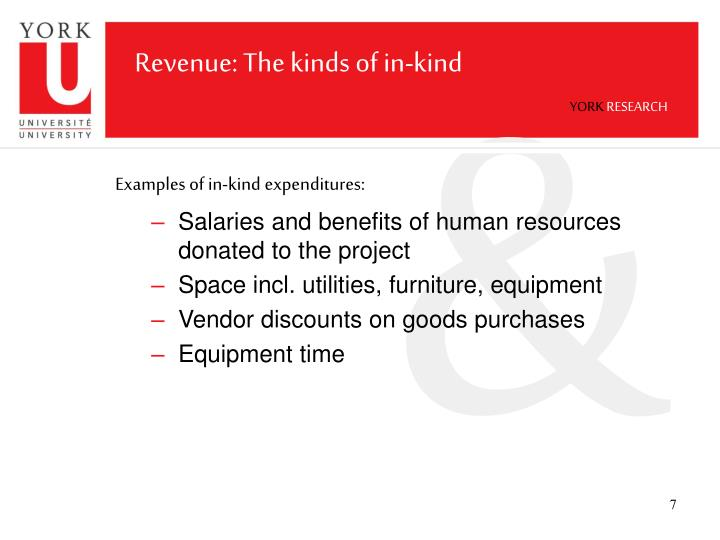 Revenue: The kinds of in-kind