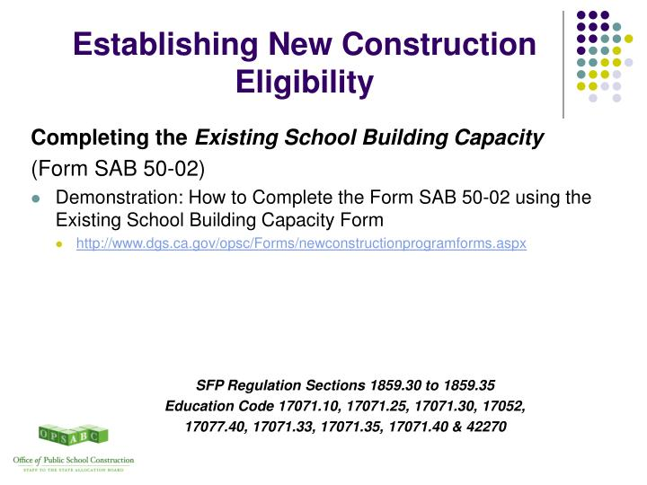 Establishing New Construction Eligibility