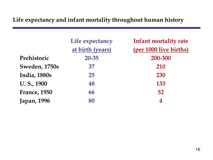 Life expectancy and infant mortality throughout human history
