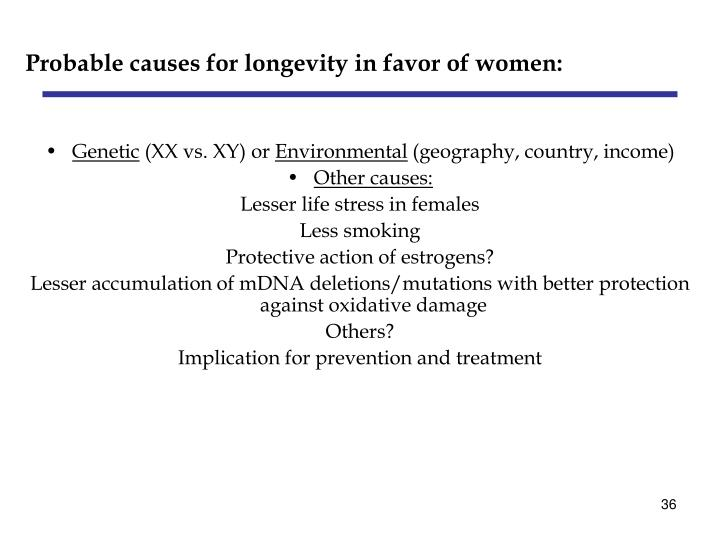 Probable causes for longevity in favor of women: