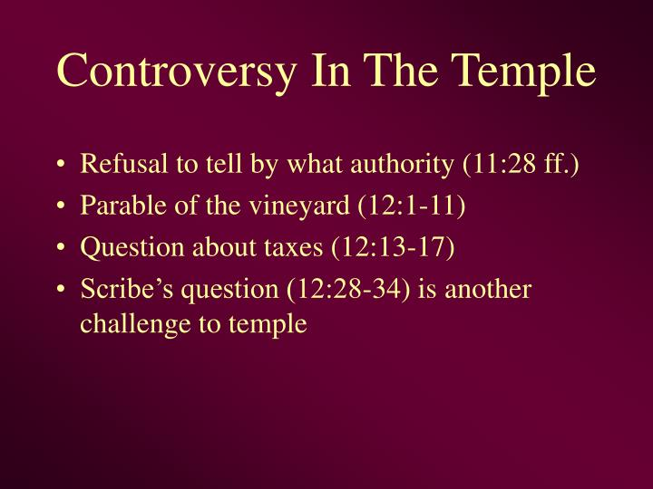 Controversy In The Temple