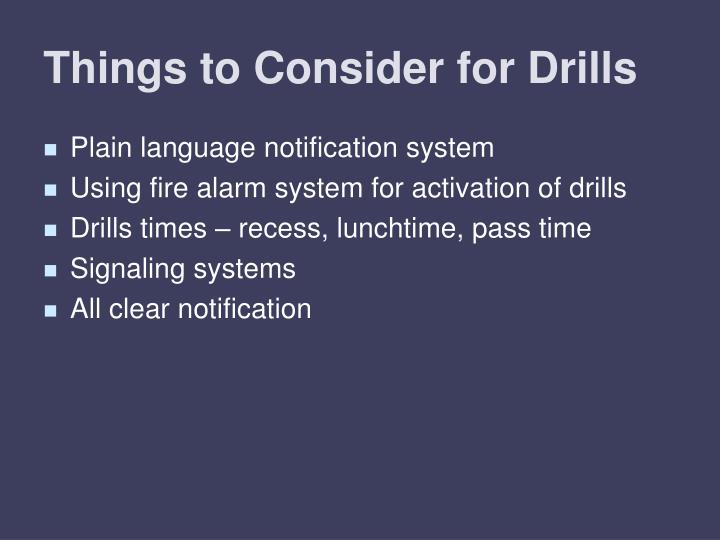 Things to Consider for Drills