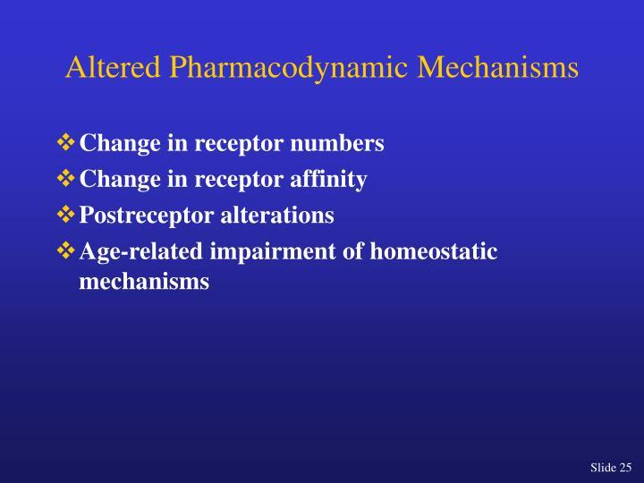 Altered Pharmacodynamic Mechanisms