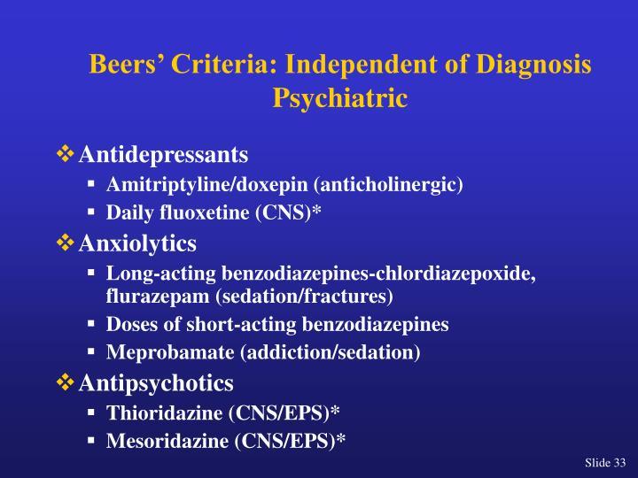 Beers' Criteria: Independent of Diagnosis