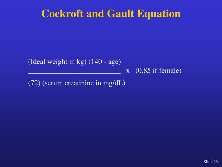 Cockroft and Gault Equation