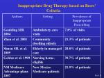 inappropriate drug therapy based on beers criteria