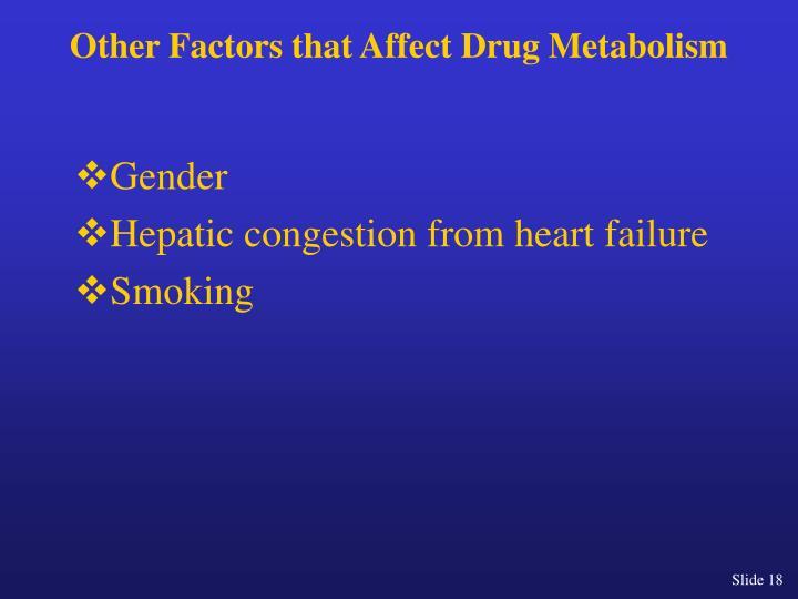 Other Factors that Affect Drug Metabolism
