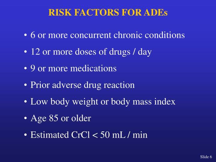 RISK FACTORS FOR ADEs