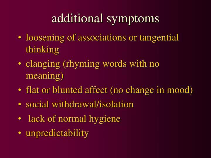 additional symptoms