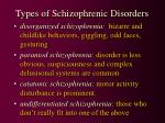 types of schizophrenic disorders