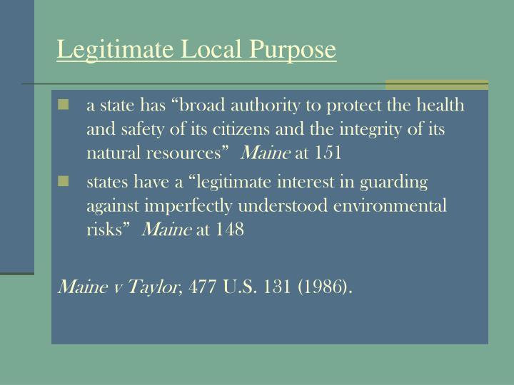 Legitimate Local Purpose