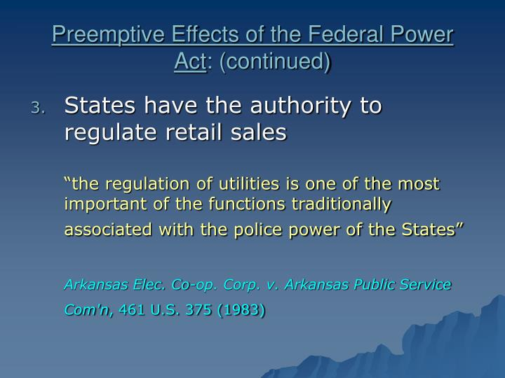 Preemptive Effects of the Federal Power Act