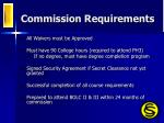 commission requirements