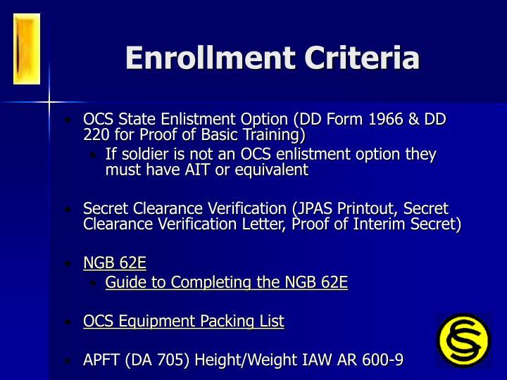 Enrollment Criteria