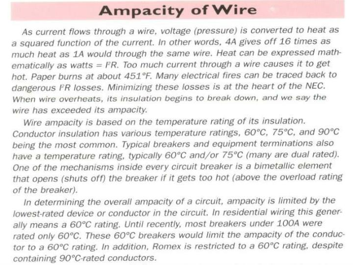 Ampacity of Wire