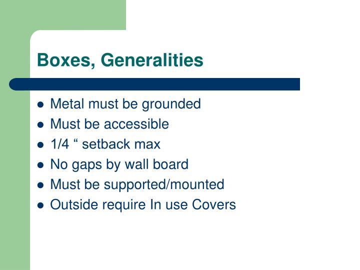 Boxes, Generalities