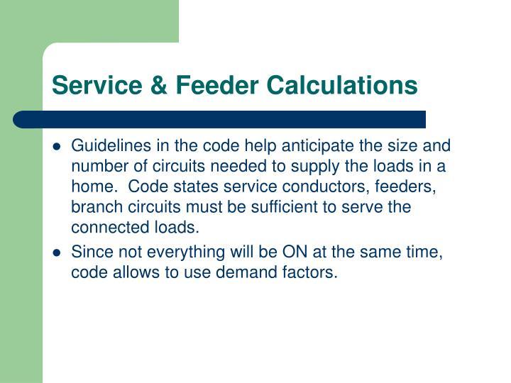 Service & Feeder Calculations