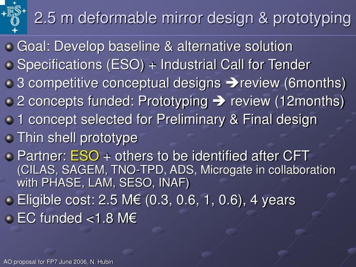 2.5 m deformable mirror design & prototyping