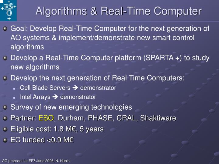 Algorithms & Real-Time Computer
