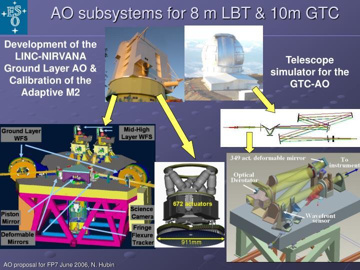 AO subsystems for 8 m LBT & 10m GTC