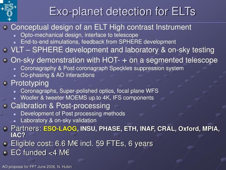 Exo-planet detection for ELTs