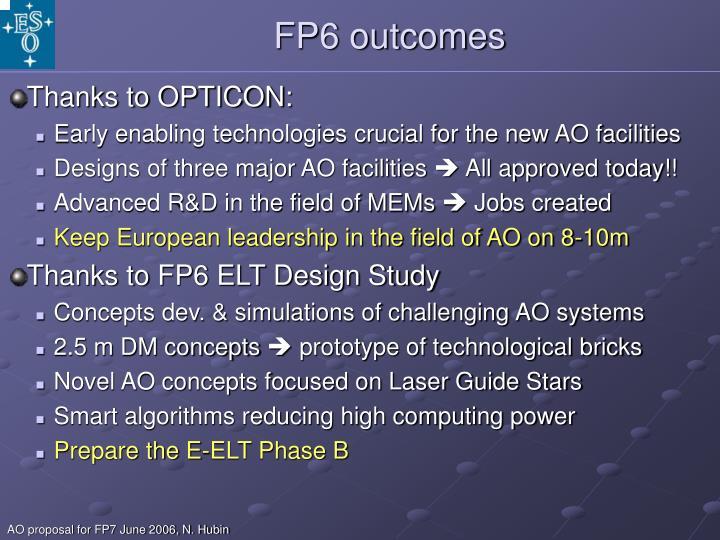 FP6 outcomes
