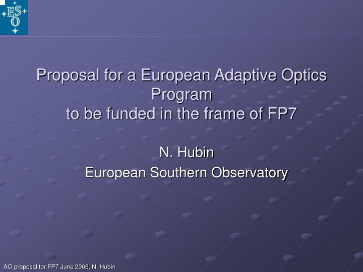 proposal for a european adaptive optics program to be funded in the frame of fp7
