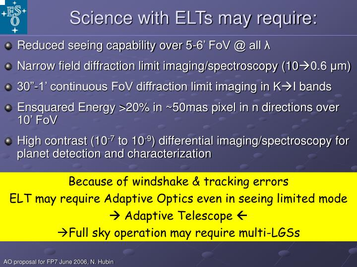 Science with ELTs may require: