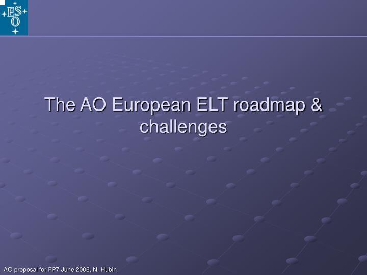 The AO European ELT roadmap & challenges