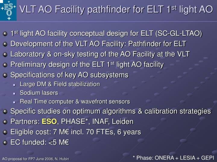 VLT AO Facility pathfinder for ELT 1