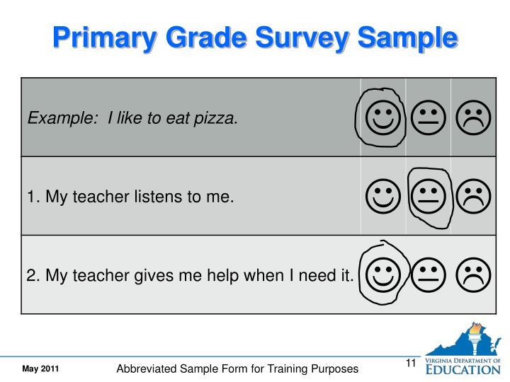 Primary Grade Survey Sample